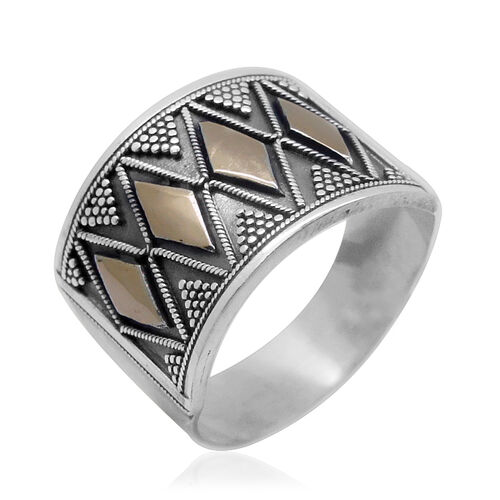 Royal Bali Collection - Hand Made 14K Y Gold Accent and Sterling Silver Band Ring 5.00 Gms.
