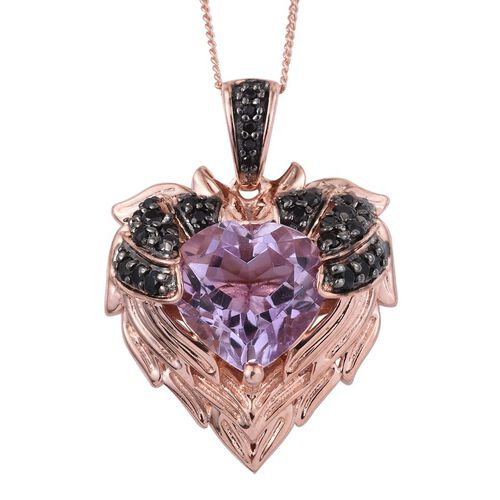 GP Rose De France Amethyst (Hrt 4.20 Ct), Boi Ploi Black Spinel and Kanchanaburi Blue Sapphire Pendant With Chain in Rose Gold Overlay Sterling Silver 4.750 Ct.