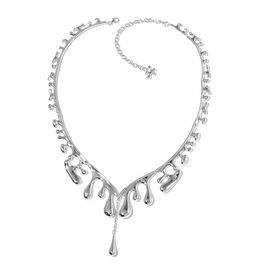 LucyQ Rhodium Plated Sterling Silver Drip Wave Necklace (Size 22 with Extender) Made with SWAROVSKI ZIRCONIA 59.82 Grams.
