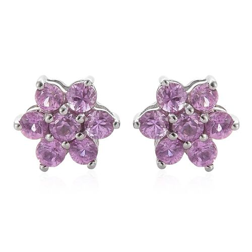 RHAPSODY 950 Platinum 1 Carat Pink Sapphire Floral Stud Earrings (with Screw Back)