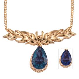 Colour Change Fluorite (Pear) Necklace (Size 20) in 14K Gold Overlay Sterling Silver 6.750 Ct.