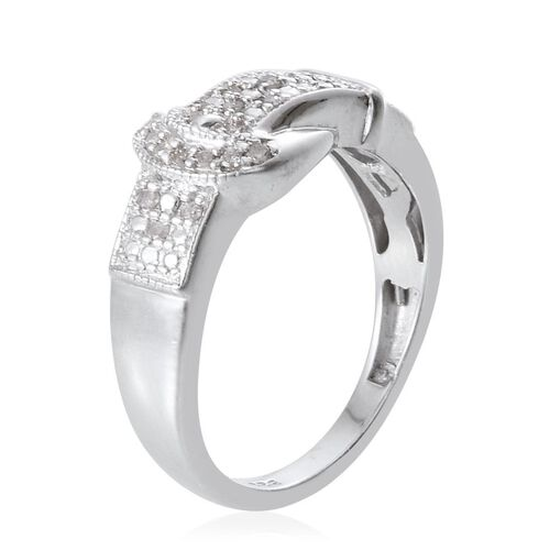 Diamond (Rnd) Buckle Ring in Platinum Overlay Sterling Silver 0.100 Ct.