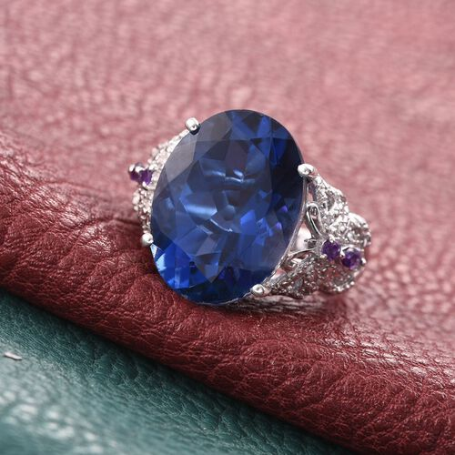 Ceylon Colour Quartz (Ovl 15.00 Ct), Amethyst and Diamond Ring in Platinum Overlay Sterling Silver 15.160 Ct.