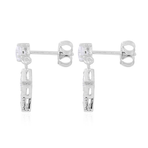 ELANZA AAA Simulated White Diamond (Rnd) Star Earrings (with Push Back) in Rhodium Plated Sterling Silver