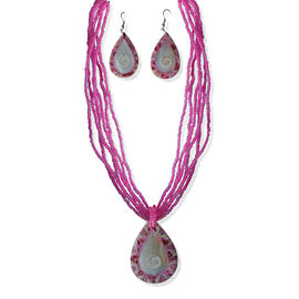 Royal Bali Collection Shell, Mother of Pearl and Pink Seed Bead Earrings and Necklace (Size 18) in Stainless Steel