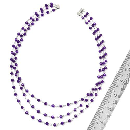 Purple Quartzite 3 Strand Necklace (Size 24) in Silver Tone 58.000 Ct.