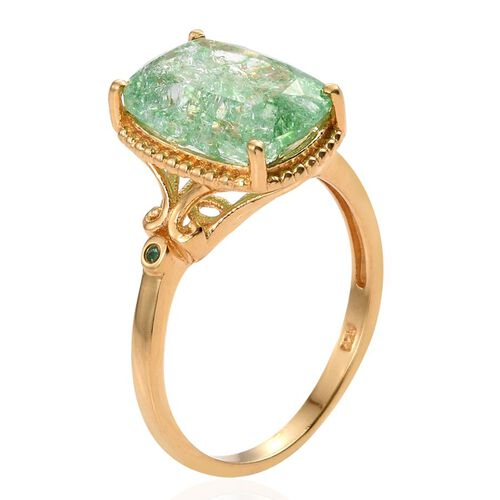 Emerald Green Crackled Quartz (Cush), Kagem Zambian Emerald Ring in 14K Gold Overlay Sterling Silver 6.250 Ct.