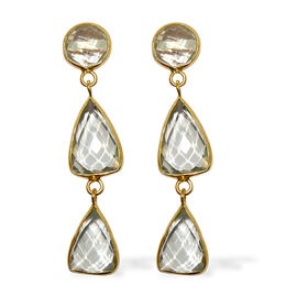 Designer Inspired Green Amethyst Drop Earrings (with Push Back) in Yellow Gold Overlay Sterling Silver 26.000 Ct.