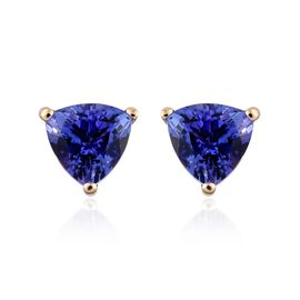 14K Yellow Gold 1 Carat AA Tanzanite Trillion Stud Earrings (with Push Back)