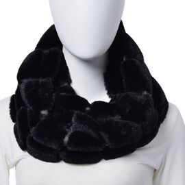 Black Colour Faux Fur Infinity Scarf (Size 75x15 Cm)