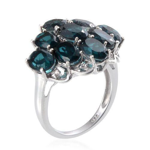 Indicolite Quartz (Ovl), Diamond Ring in Platinum Overlay Sterling Silver 8.760 Ct.