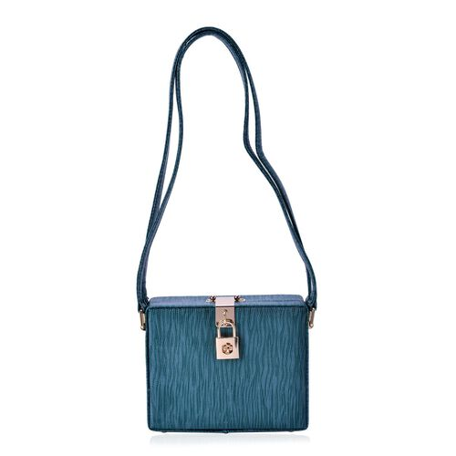 Debora Lizard Look Structured Ladylike Teal Blue Colour Clutch Bag (Size 20x14x13 Cm)