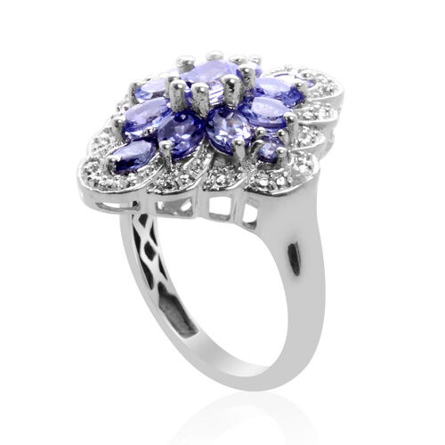 Mega Deal AA Tanzanite and Diamond Platinum Overlay Sterling Silver Ring  1.690 Ct.