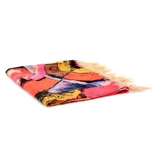 Designer Inspired 100% Wool Circle Printed Multi Colour Scarf (Size 170x67 Cm)