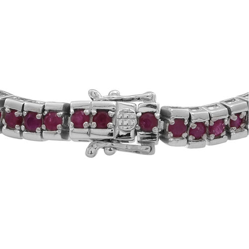 AAA Burmese Ruby (Rnd) Tennis Bracelet (Size 8) in Rhodium Plated Sterling Silver 8.500 Ct.