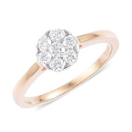 ILIANA 18K Y Gold IGI Certified Diamond (Rnd) (SI/ F-G) 7 Stone Ring 0.500 Ct.