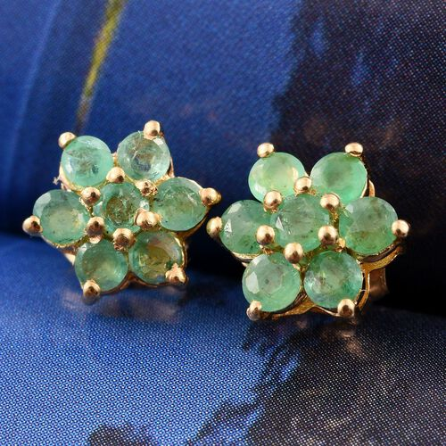 Kagem Zambian Emerald (Rnd) Floral Stud Earrings (with Push Back) in 14K Gold Overlay Sterling Silver 0.750 Ct.