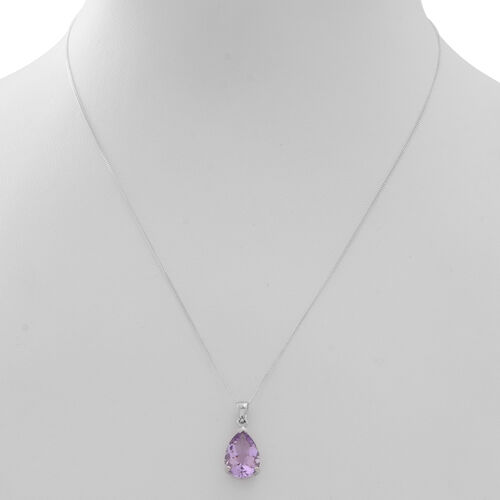 Rose De France Amethyst (Pear) Solitaire Pendant With Chain in Rhodium Plated Sterling Silver 4.500 Ct.