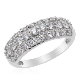 J Francis - Platinum Overlay Sterling Silver (Rnd) Ring Made with SWAROVSKI ZIRCONIA  1.200 Ct.