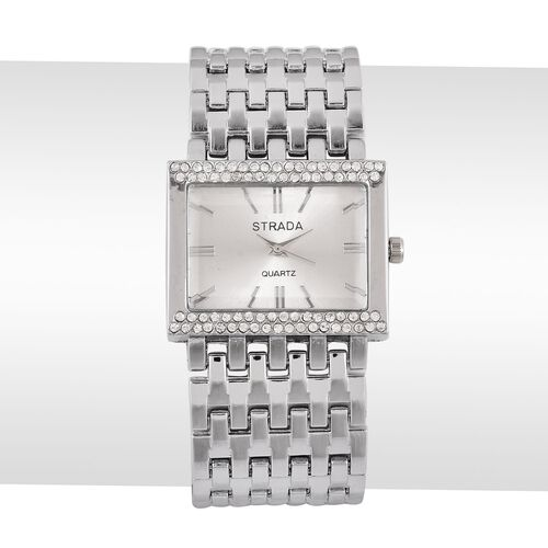 STRADA Japanese Movement Silver Sunshine Dial with White Austrian Crystal Water Resistant Bracelet Watch in Silver Tone with Stainless Steel Back
