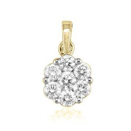 ILIANA 18K Y Gold IGI Certified Diamond (Rnd 0.10 Ct) (SI/G-H) 7 Stone Floral Pendant 0.500 Ct.