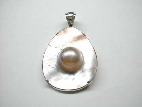 Mother of Crater Pearl (Pear) Pendant in Sterling Silver