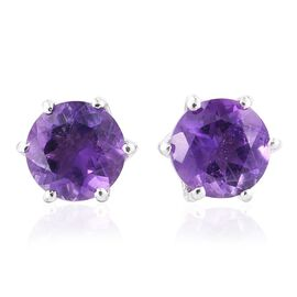 Lusaka Amethyst (Rnd) Stud Earrings (with Push Back) in Platinum Overlay Sterling Silver 2.500 Ct.