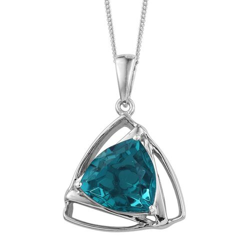 Capri Blue Quartz (Trl) Solitaire Pendant With Chain in Platinum Overlay Sterling Silver 6.000 Ct.