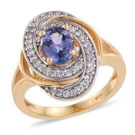 Tanzanite (Ovl 1.35 Ct), Natural Cambodian Zircon Ring in 14K Gold Overlay Sterling Silver 1.750 Ct.