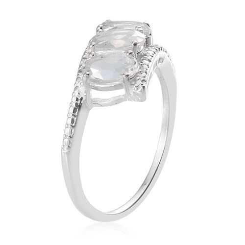 White Topaz (Ovl) Trilogy Ring in Sterling Silver 2.500 Ct.