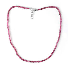 AAA Ouro Fino Rubellite (Rnd) Beaded Necklace (Size 17 with 1 inch Extender) in Sterling Silver 28.000 Ct.
