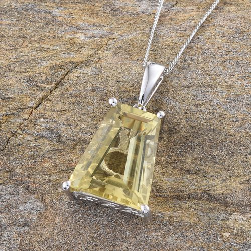 Brazilian Green Gold Quartz (Bgt) Solitaire Pendant With Chain in Platinum Overlay Sterling Silver 7.000 Ct.