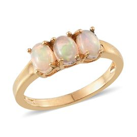 Ethiopian Welo Opal (Ovl) Trilogy Ring in 14K Gold Overlay Sterling Silver 0.750 Ct.