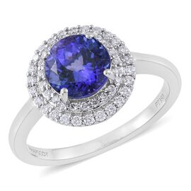RHAPSODY 950 Platinum 2 Carat AAAA Tanzanite Halo Ring with two row Diamond VS E-F