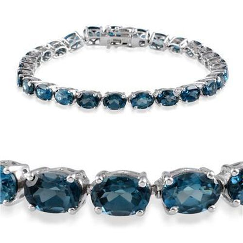 London Blue Topaz (Ovl) Bracelet in Rhodium Plated Sterling Silver (Size 8.25) 26.000 Ct.