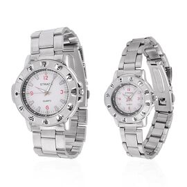 Set of 2- STRADA Japanese Movement White Dial Water Resistant Watch in Silver Tone with Stainless Steel Back and Chain Strap