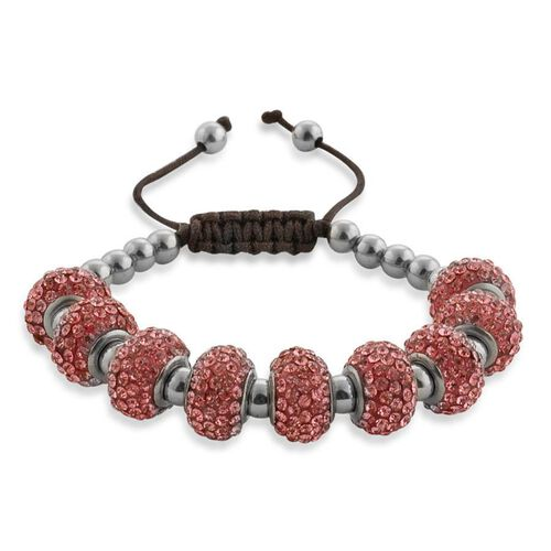 Pink Austrian Crystal Bracelet in Stainless Steel (Adjustable)