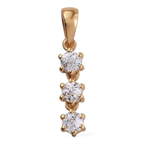 J Francis - 14K Gold Overlay Sterling Silver (Rnd) Trilogy Pendant Made with SWAROVSKI ZIRCONIA