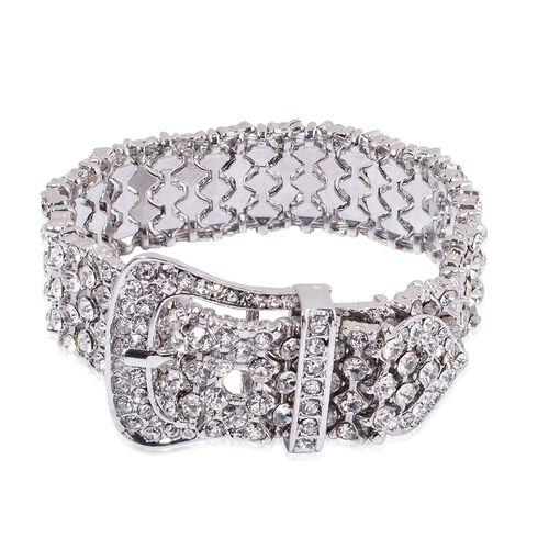 White Austrian Crystal Buckle Bracelet (Size 8) and Buckle Stud Earrings in Silver Tone