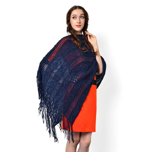 Navy Colour Knitted Poncho with Tassels (Free Size)