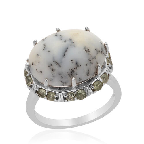 Dendritic Opal (Ovl 6.00 Ct), Green Sapphire Ring in Platinum Overlay Sterling Silver 6.750 Ct.