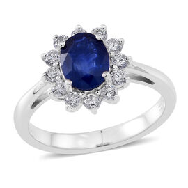 ILIANA 18K W Gold AAAA Ceylon Blue Sapphire (Ovl 1.50 Ct), Diamond (SI/G-H) Ring 2.000 Ct.