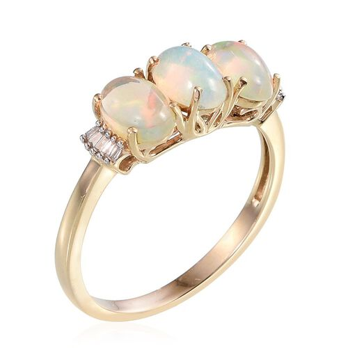 9K Y Gold AAA Ethiopian Welo Opal (Ovl), Diamond Ring 1.650 Ct.