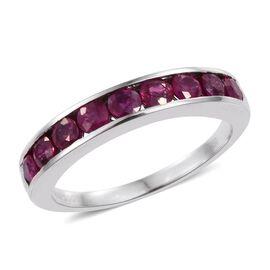 RHAPSODY 950 Platinum AAAA Burmese Ruby (Rnd) Half Eternity Band Ring 1.000 Ct.