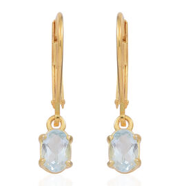 Espirito Santo Aquamarine (Ovl) Earrings in 14K Gold Overlay Sterling Silver 0.750 Ct.