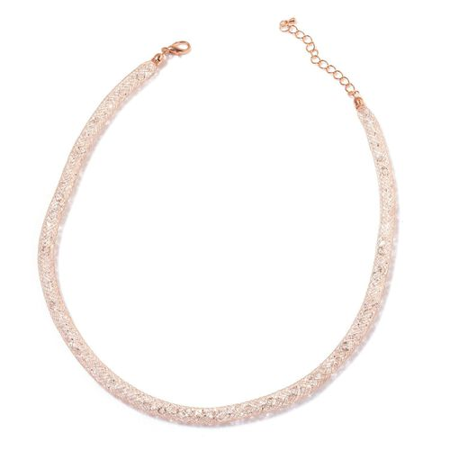 AAA White Austrian Crystal Rose Gold Tone Mesh Necklace (Size 18 with 1 inch Extender) (350 Crystals and 120 Cts)