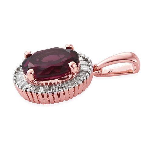 9K R Gold Rare Mozambique Grape Colour Garnet (Ovl 2.50 Ct), Diamond Pendant 2.750 Ct.
