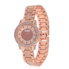 GENOA Japanese Movement Rose Dial with White Austrian Crystal Water Restinat Watch in Rose Gold Tone with Stainless Steel Back and Chain Strap