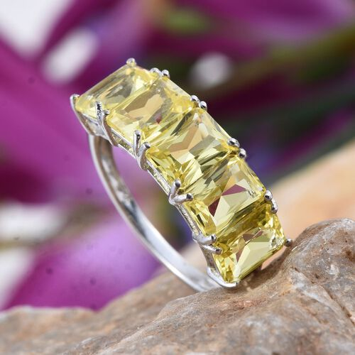 Simulated Yellow Sapphire (Oct) 5 Stone Ring in Platinum Overlay Sterling Silver