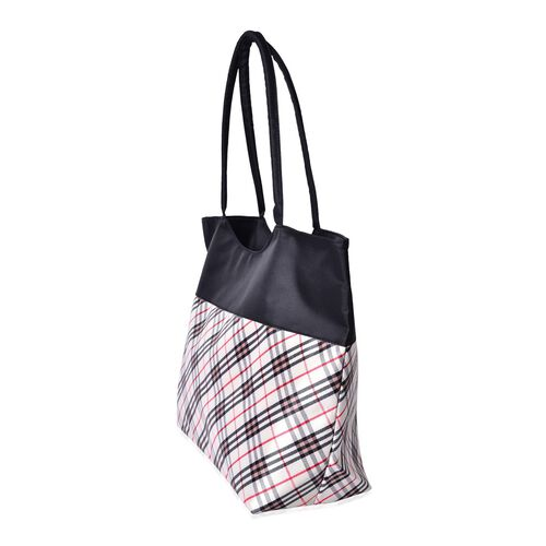 Multi Colour Checks Pattern Black and White Colour Tote Bag (Size 52X38X32X15.5 Cm)
